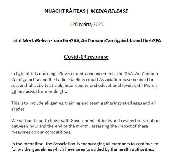 GAA Statement RE Covid19